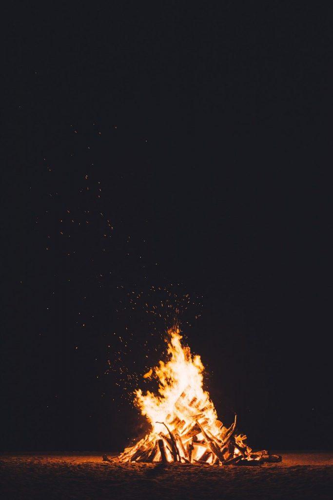 bonfire, burning, dark